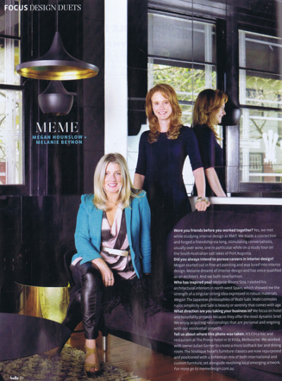 Melanie & Megan featured in Belle Design Duets Oct/Nov 2012